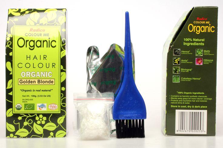 Gyllenblond ekologisk hårfärg av henna och växtfärger. Att färga med henna skyddar, reparerar skadat och slitet hår.      Radico Färgexempel...