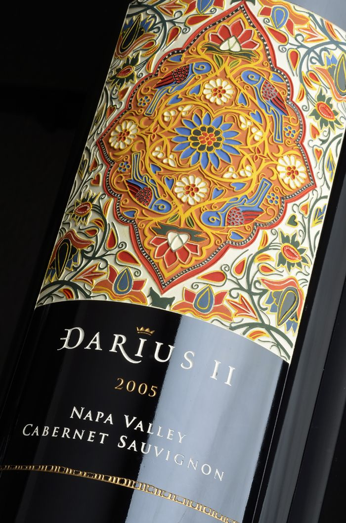 Darioush Darius II - The Dieline - Etched bottle packaging design for Darioush Winery.