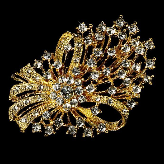Elegant Vintage Crystal Bridal Pin for Hair or Gown Brooch 17 Gold Clear #hairideas #Hairstyle #hairstyles #tutorials