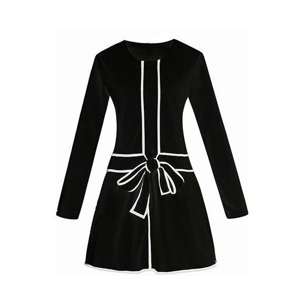 Zipper Closure Bowknot Decorated Black Dress ($29) ❤ liked on Polyvore featuring dresses, black, mini dress, pattern dress, zip dress, long sleeve a line dress and print dress