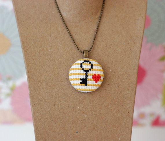 Heart and Key Cross Stitch Pendant Necklace by BobbySoxie on Etsy, $28.00