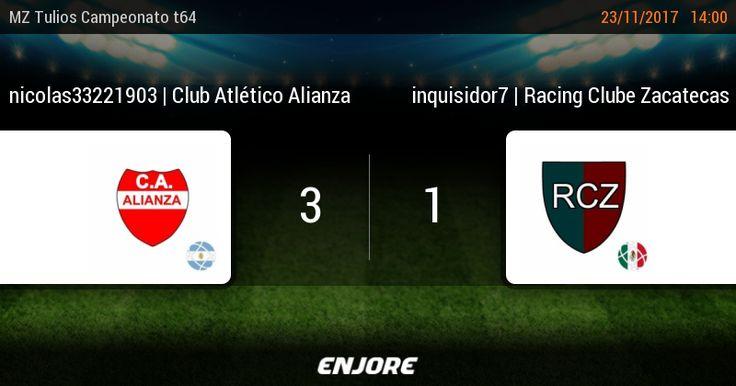 MZ Tulios Liga t64 - 19° jornada | nicolas33221903 | Club Atlético Alianza 3 - 1 inquisidor7 | Racing Clube Zacatecas https://www.enjore.com/es/match/6138791/nicolas33221903-club-atletico-alianza-inquisidor7-racing-clube-zacatecas/scores/