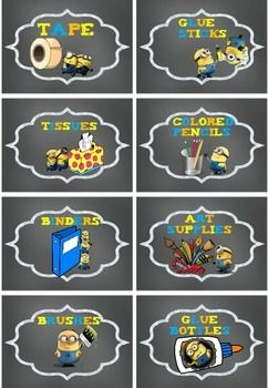 Minion Theme Classroom Labels
