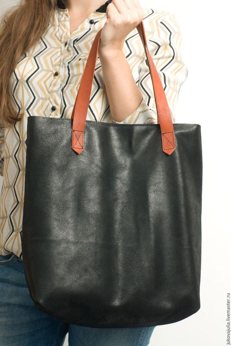 Купить Сумка черная из натуральной кожи пакет шоппер тоут TOTE№260816 - черный