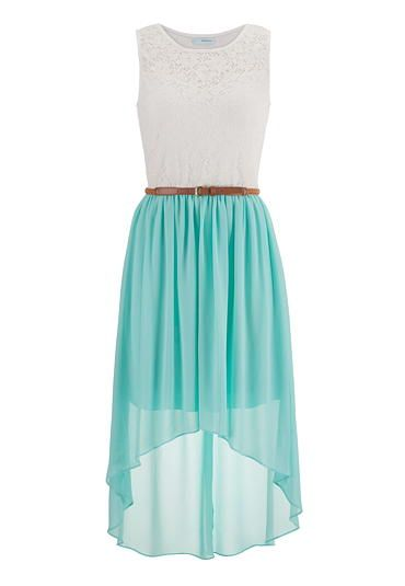 #Maurices Belted lace top high low dress $44