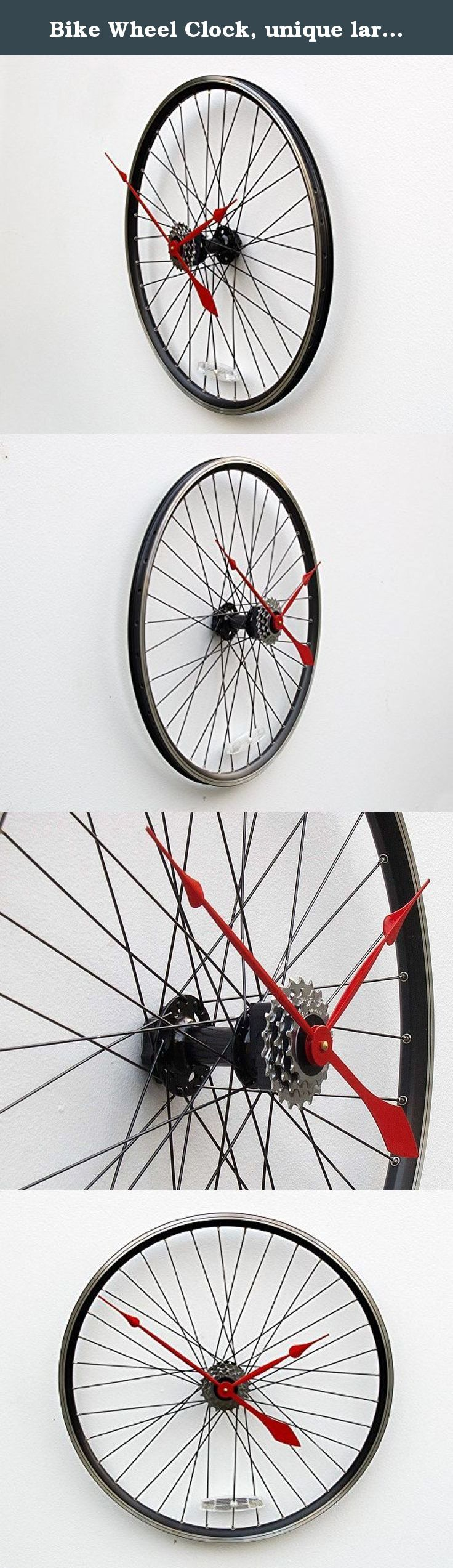 Bike Wheel Clock, unique large wall clock, bike clock, bicycle wheel clock, industrial wall clock, cyclist clock, upcycled bike parts clock, gift for him, gift for her. This clock was created from a recycled aluminum bike wheel. The wheel mounts directly to the wall through the hub using a hollow wall anchor and gives the illusion that it is floating off the wall. The clock movement is a high torque quartz movement and is attached to a set of rear cassette gears to conceal the movement…