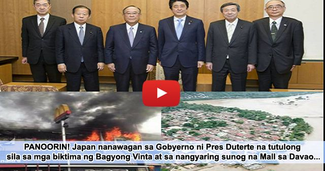 ADVERTISEMENT  WATCH THE RELATED VIDEO BELOW :   BALITANG TOTOO  Handang magpadala ng ayuda ang gobyerno ng Japan sa mga biktima ng bagyong Vinta at sunog sa isang mall sa Davao City.  Sinabi ito ni Japanese Prime Minister Shinzo Abe nang magpaabot siya ng pakikiramay kay Pangulong Rodrigo Duterte.  Japan stands with the Philippines in overcoming this time of difficulties. Japan is ready to provide assistance needed by your country including provision of emergency relief goods to the maximum…