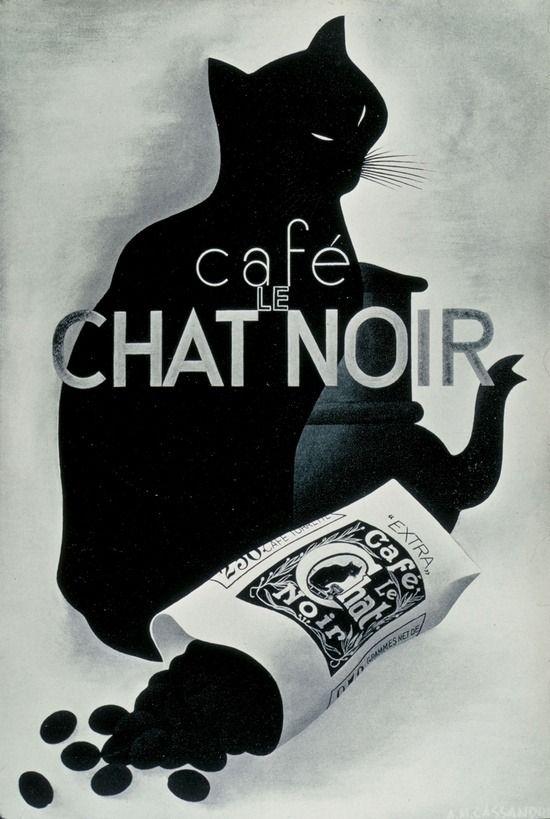 A.M. Cassandre, artwork for Café Le Chat Noir poster, 1932.