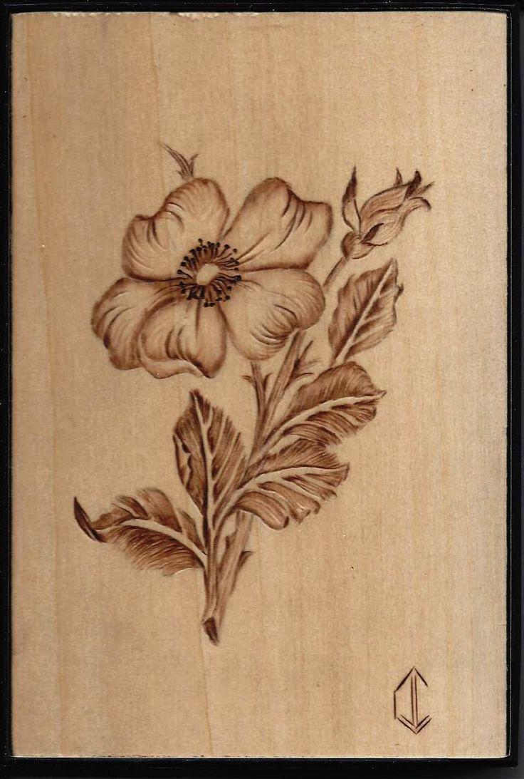 Pyrography wood burning woodburning - flower