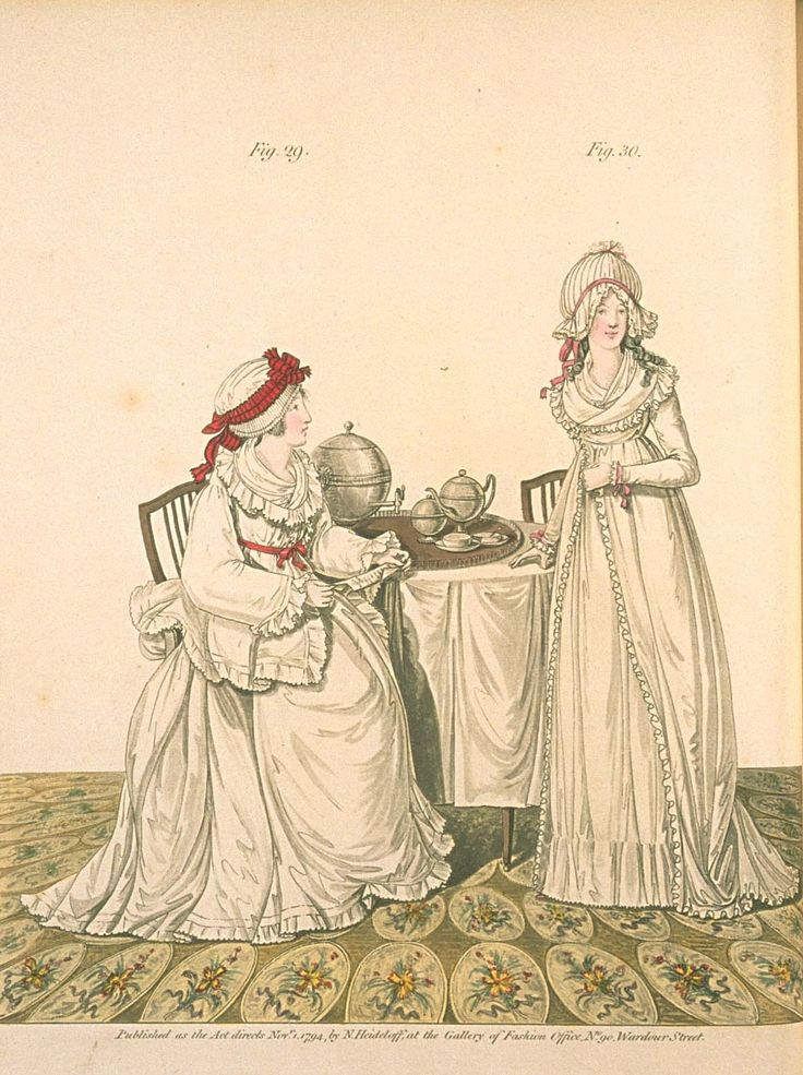 Gallery of fashion November 1794 - 2 ladies at breakfast in their dressing-room