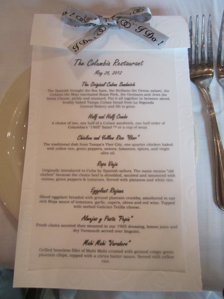 Bridal Luncheon menu at The Columbia in St. Augustine, FL