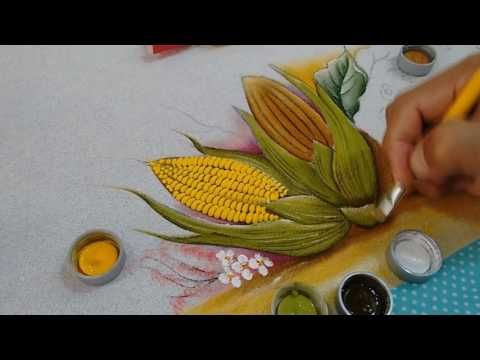 Roberto Ferreira - Como pintar Espiga de Milho utilizando a tinta AcriPuff.