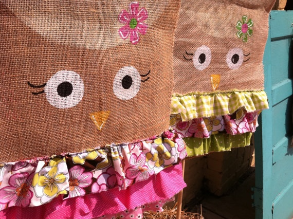 Burlap Owl Flag with Ruffles