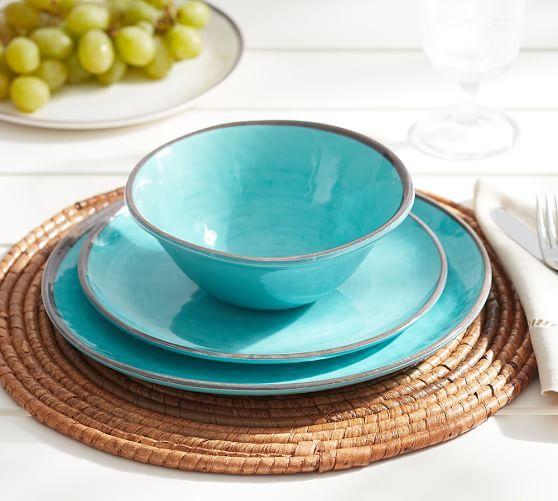 OUTDOOR - Swirl Melamine Dinnerware - Turquoise | Pottery Barn