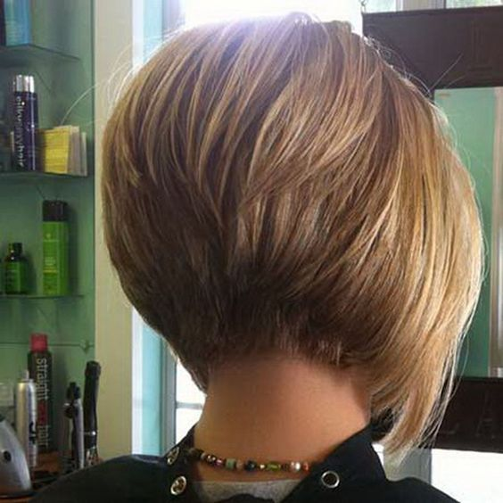 Short Inverted Stacked Haircut Back View | Photos of the Beautiful Looks from Short Inverted Bob Hairstyles: