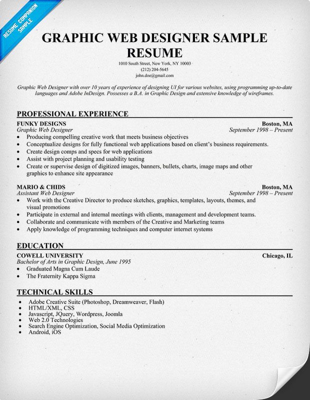 Graphic #Web Designer Resume Sample (resumecompanion) Resume - resume format for web designer