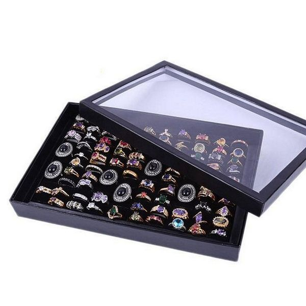 100 Slot Ring Display Case Organizer Top Jewelry Storage Box Tray Holder Jewelry Display Box Ring Displays Earring Storage