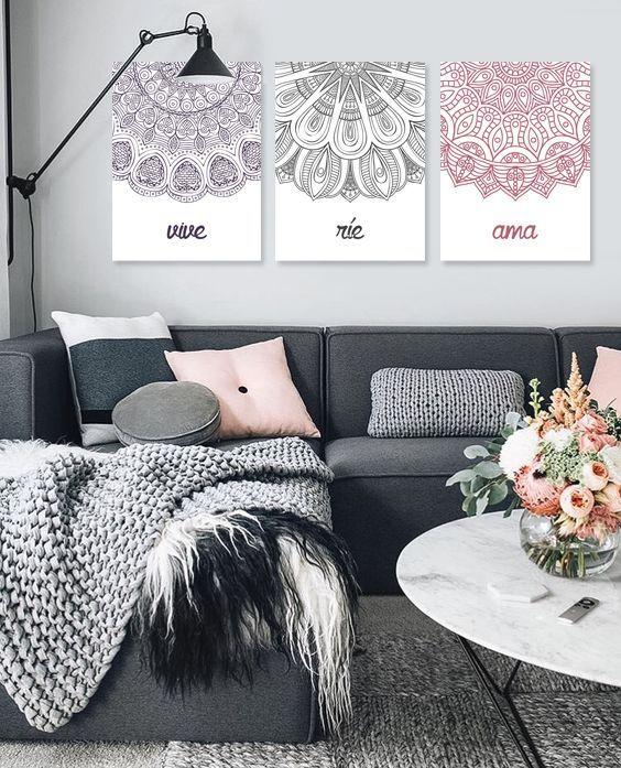 Cuadros Trípticos Modernos con mandalas #triptico #mandalas #cuadros #homedecor #decoration #decoración #interiores