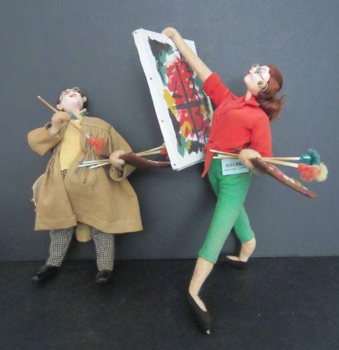 "9 & 10"" Roldan Vintage-felt-dolls-from-Spain-depicting-artists"