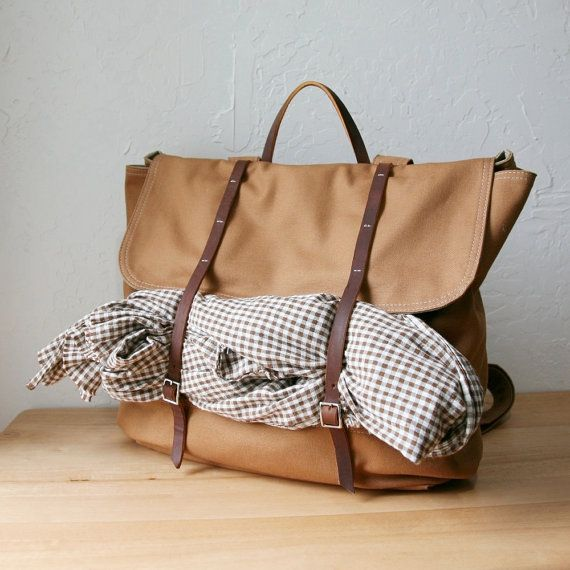 Backpack in Cinnamon Brown Cotton Canvas and Leather