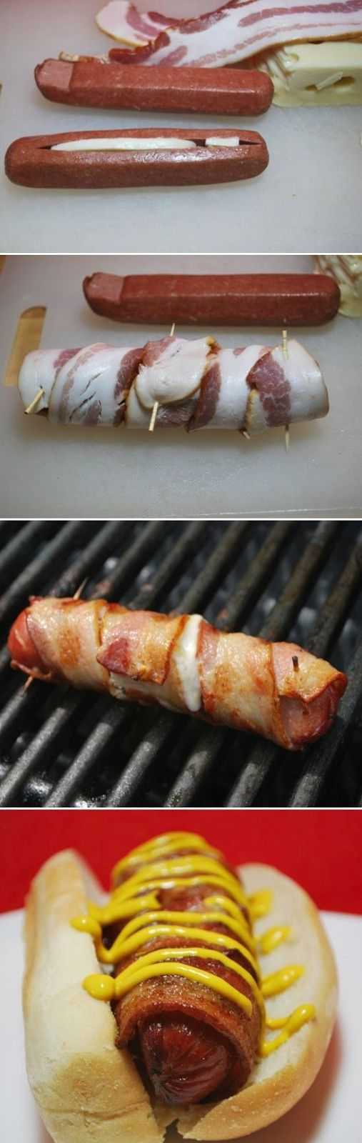 Cheesy Bacon Wrapped Hot Dog - it's definitely not healthy, but I am DEFINITELY trying this at the next BBQ this summer!!!