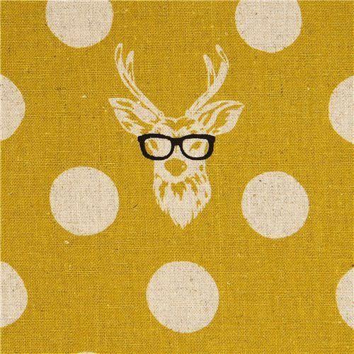 Crib skirt material  echino canvas fabric Buck stag with glasses yellow (per 0.5m multiple) by Kokka, http://www.amazon.com/dp/B008BQ3NI6/ref=cm_sw_r_pi_dp_u4.Trb18FPKNW