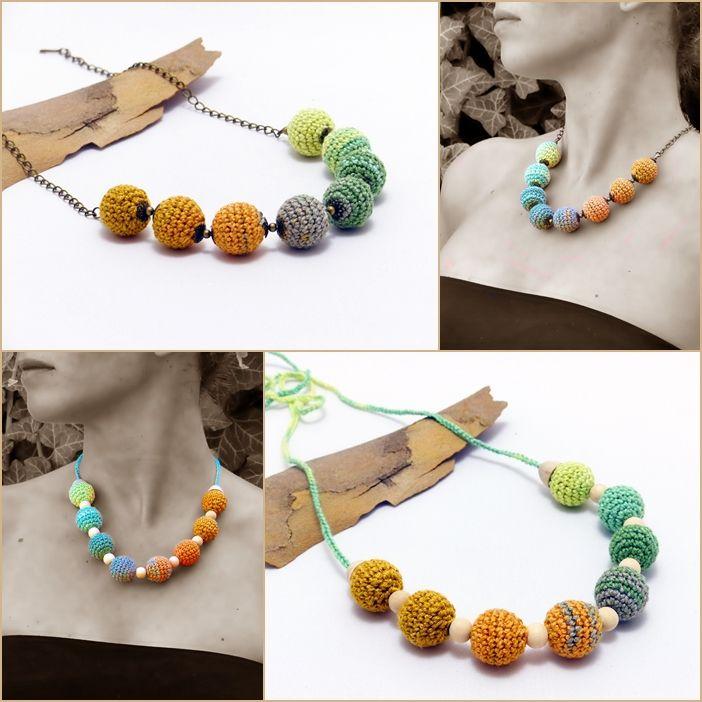 horgolt nyakláncok az ősz színeiben / crochet necklaces in the colors of autumn