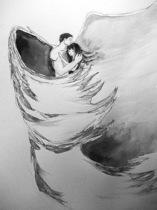 """""""BEZPIECZNA PRZYSTAŃ"""" praca piórkiem z dodatkiem akwareli  wykonana przez artystkę plastyka Adrianę Laube na papierze A3."""