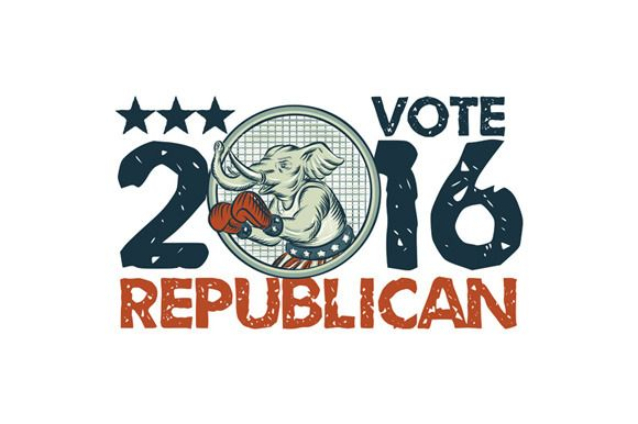 Vote Republican 2016 Elephant Boxer - Illustrations - 1. Etching engraving handmade style illustration of an American Republican GOP elephant boxer mascot boxing with boxing gloves wearing USA stars and stripes flag shorts viewed from side set inside circle with words Vote Republican.The zipped file includes editable vector EPS, hi-res JPG and PNG image. #etchingillustration   #VoteRepublican2016