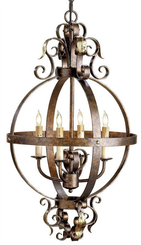 Currey and Company 9390 Coronation 4 Light Single Tier Chandelier Cupertino/Gold Leaf Indoor Lighting Chandeliers