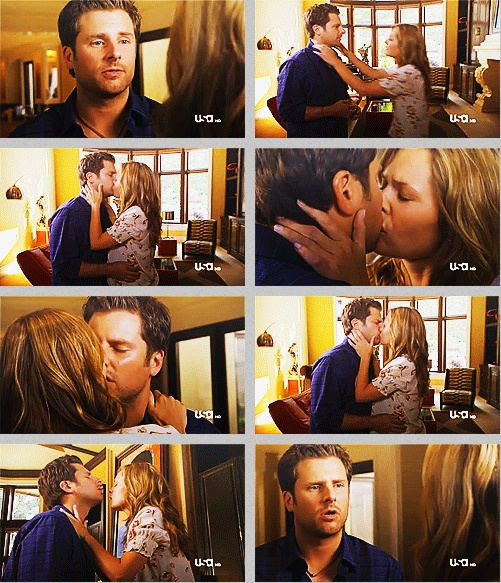 "My favorite moment about this kiss is the face he makes in the kiss. It's almost a pained ""holding back"" look. James Roday is brilliant."