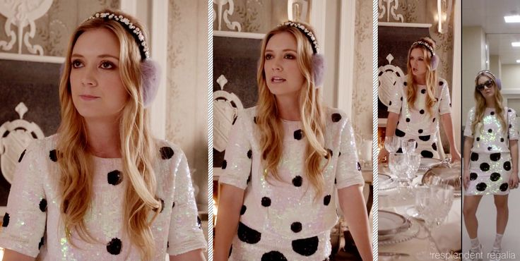 Chanel #3 (played by Billie Lourd) in matching ASOS sequin dalmation skirt and top w/lavender earmuffs (from Scream Queens episode 4 - Pumpkin Patch)