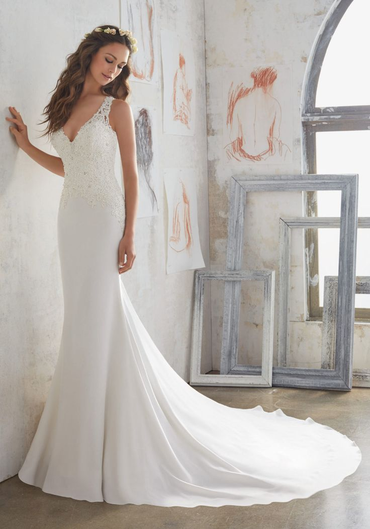 Awesome  Designer Wedding Dresses and Bridal Gowns by Morilee Classic Sheath Wedding Gown with Crystal Beaded Lace Appliqu s that Accent the Bodice and Open