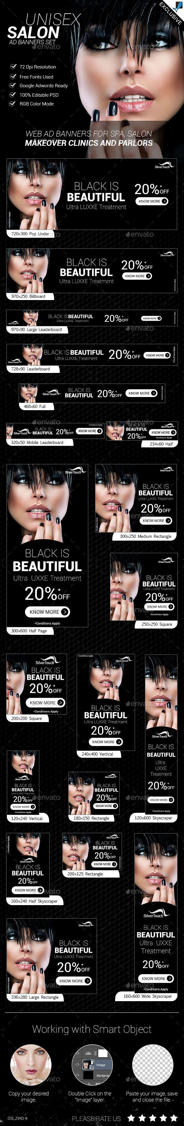 Unisex Salon  Ad Banners Set