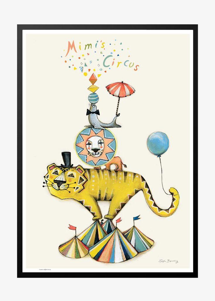 Børneplakat med cirkus tiger og sæl