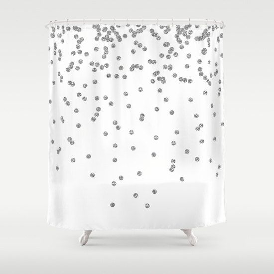 Shower Curtain  Silver Shower Curtain  Silver by BellaBellaShoppe