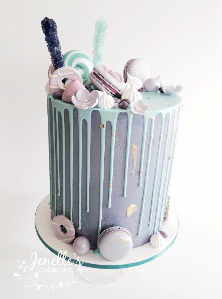 Purple and aqua drip cake. By Jenelle's Custom Cakes.