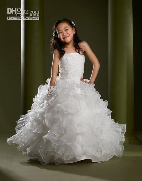 Lovely White Spaghtetti Strps Ball Gown Square Neck Ruffled Organza Flower Dresses