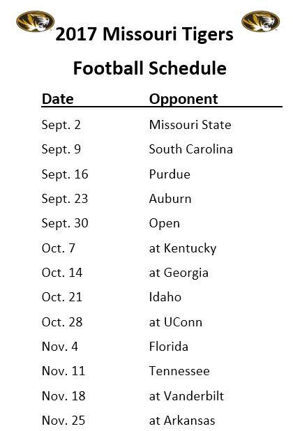 Printable 2017 Missouri Tigers Football Schedule