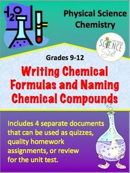 Writing Chemical Formulas and Naming Compounds Set of 4 Quizzes
