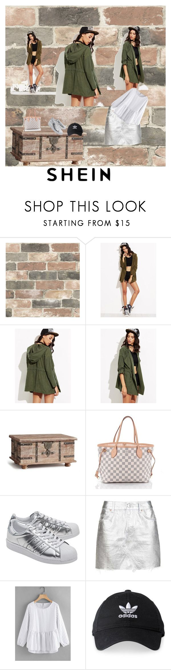 """SHEIN Contest Roll Up Sleeve Drawstring Hooded Coat"" by gigi-sessions ❤ liked on Polyvore featuring Wall Pops!, Pottery Barn, Louis Vuitton, adidas Originals, Topshop and adidas"