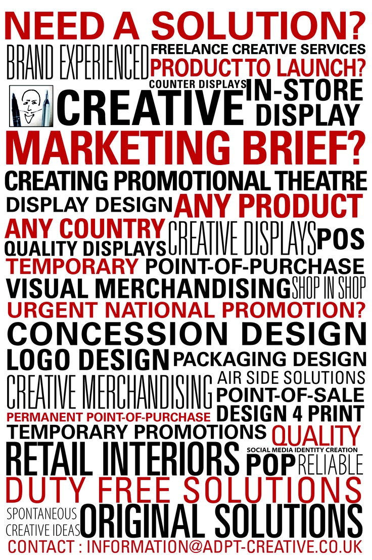 Creative Services For Retail Design | Point of Purchase Design | New Product Launches | Marketers | Brand Managers | Agencies Looking For Quality Diverse Creative Freelance & Experience Across Many Types of Product Categories & Global Markets.                  Contact : Freelance@adpt-creative.co.uk