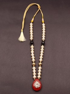 White Pacchi Work Pearl with Black and Red Stone Necklace - Buy White Pacchi Work Pearl with Black and Red Stone Necklace Online