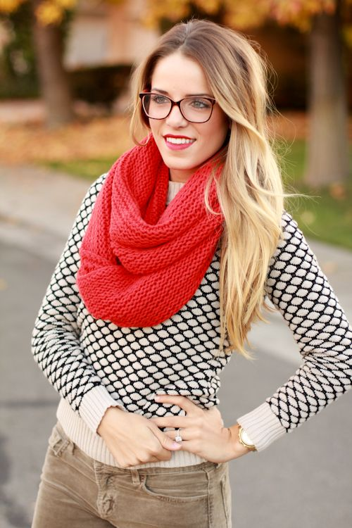 Fall Fashion - sweater + red infinity scarf