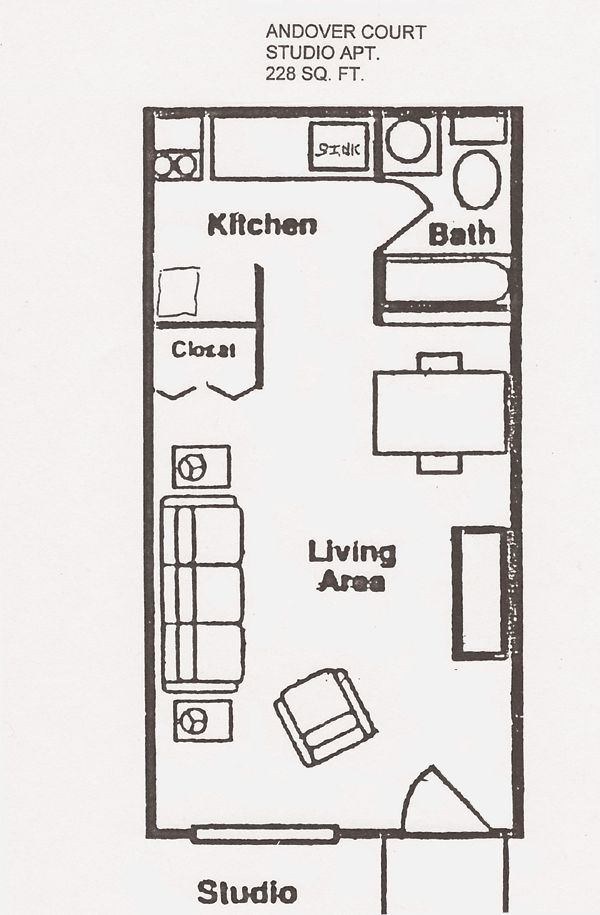 30 best images about studio on pinterest bedroom for One bedroom apartment floor plan ideas