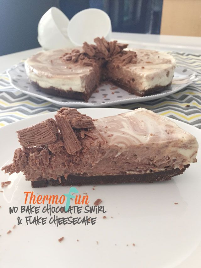 If you are looking for a great simple delicious creamy chocolate cheesecake then this Thermomix No Bake Chocolate Swirl with Flake Cheesecake is the perfect