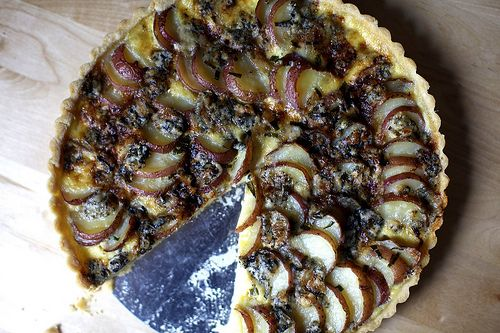 blue cheese and red potato tart