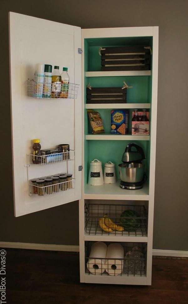 DIY Mobile Pantry Cabinet - ToolBox Divas. #DIY #pantry #cabinet #storage #organizing