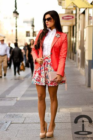 coral blazer outfit - Google Search
