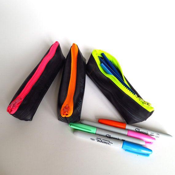 Bike inner tube pencil case rubber recycled bike inner tube neon green zipper